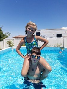 document everyday family life; summer swimming
