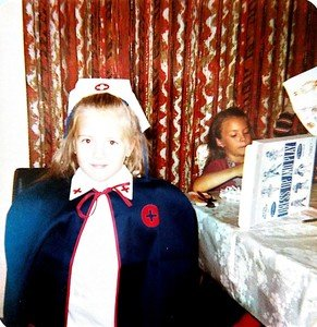Hilarie in nurse uniform 7th birthday